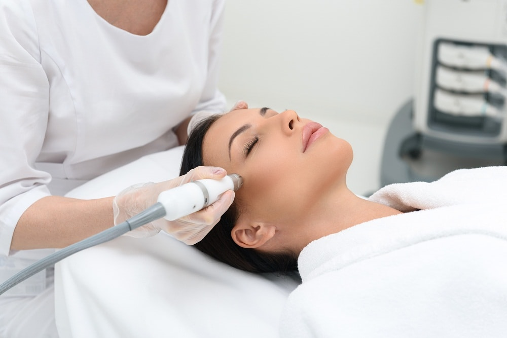 Woman getting skin care treatment